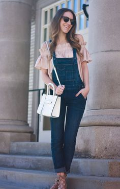 How to Wear Overalls: Overalls and an Off the Shoulder Top | Twenties Girl Style
