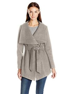 SALE PRICE $73 All over braided wool coat with oversized, envelope collar Features a self belted, adjustable, waistline Front inseam pockets