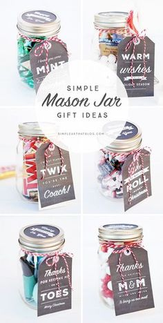6 Simple Mason Jar gifts with Printable Tags to make gift giving easy and inexpensive for even the hardest to shop for on your Christmas list! gift inexpensive Simple Mason Jar Gifts with Printable Tags Diy Gifts For Christmas, Holiday Gifts, Inexpensive Christmas Gifts, Diy Christmas Mason Jar Gifts, Christmas List Ideas, Coworker Christmas Gifts, Neighbor Gifts, Christmas Presents For Teachers, Inexpensive Gift