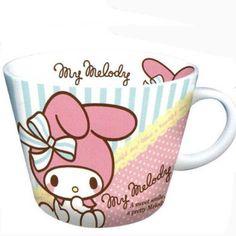 My Melody Ceramic Mug Cup Green Stripe Ribbon Sanrio Japan Original