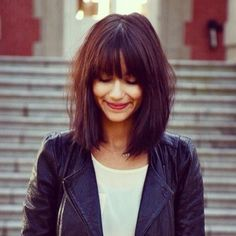 Blunt Messy Bob, long bangs.  I love how blunt this looks without looking heavy