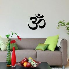 Housewares Wall Vinyl Decal Om Symbol Buddha Sacred Indian Design Interior Decor Sticker Buddhism Divine Buddhist Sign SV2014