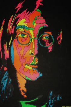 Platt Co Poster Of John Lennon- black light poster from Late 60s