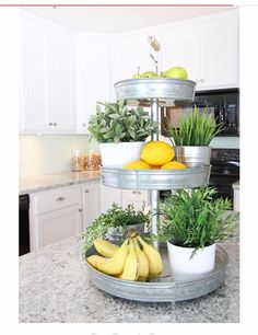 3 tier stand with herbs and fruits