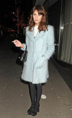 Alexa Chung in a powder-blue coat by Philosophy Di Alberta Ferretti at the Armory Party at the MoMA.