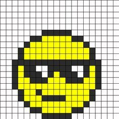 Summer Day Face Perler Bead Pattern | Bead Sprites | Misc Fuse Bead Patterns