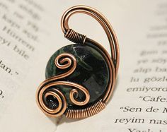 copper ring copper wire with white crystal stone by BeyhanAkman