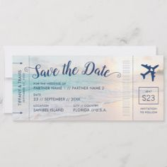 Shop Beach Wedding Sunset Boarding Pass Save the Date Announcement created by PaperGrapeTravel. Personalize it with photos & text or purchase as is! Destination Wedding Save The Dates, Destination Wedding Invitations, Wedding Invitation Cards, Destination Weddings, Beach Themed Weddings, Small Beach Weddings, Wedding Destinations, Invitation Wording, Invitation Suite