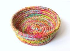 Yarn Coiled Basket, Hand Dyed and Handspun BFL Wool Yarn, Round Colorful Basket