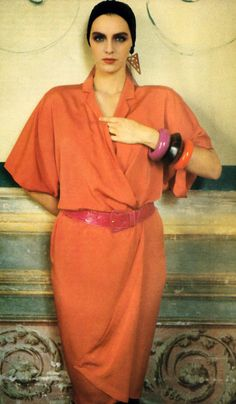 sheila metzner in genny's dress for vogue, january 1986.
