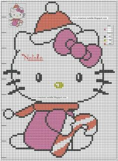 Hello Kitty Christmas Hama Perler Bead Pattern