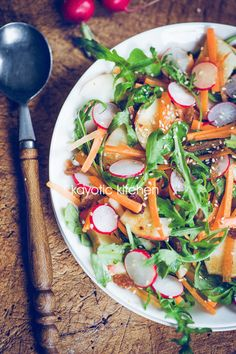 Apple, Radish & Carrot Salad - We would pair this crunchy salad with our 5 Flavor Asian Dressing. (via Kayotic Kitchen)