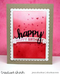 Happy Happy Birthday Ombre card! Simon Says Stamp Wednesday Challenge featuring Hero Arts | shurkus.com.