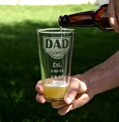 Dad likes BEER on Father's Day, Personalized 22oz etched glass with DAD, est. & kids' birth dates, Gift for him, Dad Gift, Father's Day Gift. $18.50, via Etsy.