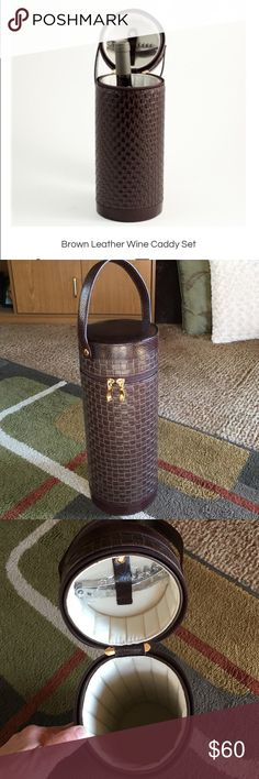 Bey-Berk wine caddy set🍂 NWOT🍂Bey-Berk brown leather wine caddy set🍂fully cushioned lined🍂gold tone hardware Bey-Berk Accessories