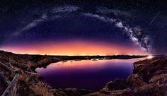 Shooting Star Galaxy View Lake Wallpaper