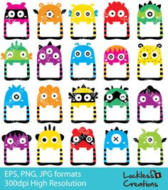 Monster Frames Digital Clip Art ED Instant by LocklessCreations Class Dojo, Monster Classroom, Happy Monster, School Labels, Image Clipart, Graphic Projects, Cute Monsters, Animal Birthday, Arts Ed
