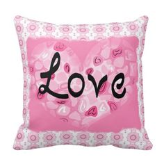 """Pink and white """"Love"""" pillow"""