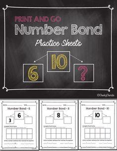 Number Bond - Practice Sheets FREE (Eureka Math Companion)