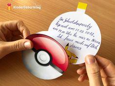 Pokemon Einladungskarten basteln: Vorlagen zum Ausdrucken Printables, Phone, Birthday, 1, Early Education, Pokemon Birthday Card, Pokemon Craft, Birthday Party Invitations, Invitations
