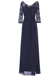 Bbonlinedress Long Chiffon Mother of the Bride Dresses Lace Top Ruched Waist Formal Party Gowns Dark Navy 16 ** More info could be found at the image url.Note:It is affiliate link to Amazon.