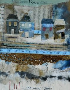 By Louise O'Hara from Drawn to Stitch Mixed Media Collage, Mixed Media Canvas, Collage Art, Collages, Kitsch, Fabric Postcards, Creative Textiles, Fabric Pictures, Fibre Textile
