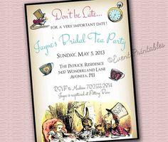 Alice in Wonderland Invitation, Bridal Shower Invite, DIY Printable, Vintage Tea Party by Event Printables