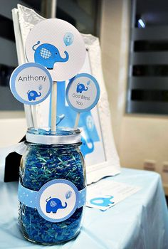 Cute Blue Elephant Dessert Table {Boys Christening}