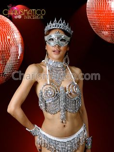 Silver Medieval Armor Sexy Showgirl Cage Bra And Thong Carnival Outfits, Lingerie Outfits, Medieval Armor, Fantasy Costumes, Showgirls, Belly Dance, Dance Wear, Burlesque, Cage