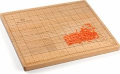 Love this cutting board! It's a great way to teach someone proper chopping and dicing sizes.