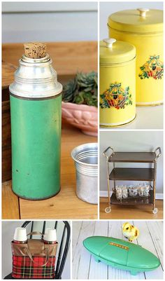 Weekend thrift store score including vintage plaid Thermos picnic set, mid-century modern rolling kitchen cart and lots more kitschy goodness. Thrift Store Furniture, Refurbished Furniture, Repurposed Furniture, Furniture Refinishing, Furniture Redo, Rolling Kitchen Cart, Antique Appraisal, Vintage Kitchen Accessories, Flea Market Decorating