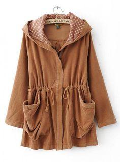 Elegant Hooded Long Khaki Outerwear $52.00