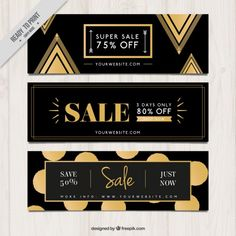 Sale dark banners with golden elements