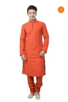 Manyavar Designer Kurta. The cotton kurta with computer embriodery semi floral design having beeded gundi button in front gives you an elegant look for all occasion.