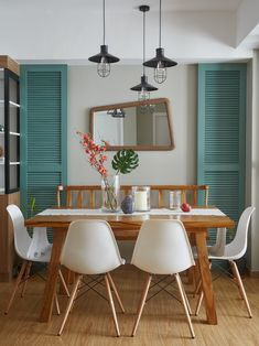 Nice dining setup for a small space. Saw this from Real Living PH. Small Condo, Scandinavian Interior, Dining Area, Dining Room, House Tours, Small Spaces, The Unit, Interior Design, Chair
