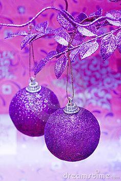 Purple Christmas balls by Viktoriia Kulish, via Dreamstime