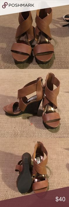 Steve Madden camel wedges Steve Madden camel wedges only worn a handful of times Steve Madden Shoes Wedges