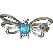 Vintage signed Reja Sterling Silver Bug Butterfly Insect Pin Blue Rhinestone Figural Brooch
