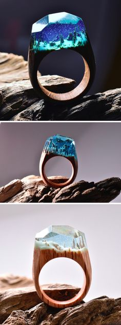 Snowy Mountains and Undersea Worlds Encapsulated Within Wood and Resin Rings #accessories