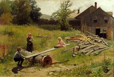 Teetering At The Saw Mill - James Wells Champney (1843 – 1903)