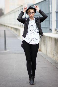 Artlex fashion blog / Blog mode / street look / street style / blogueuse mode / fashion blogger / ootd / outfitoftheday / chemise imprimé marbré /sac zara / rock / boots DIY glitter @SheInside