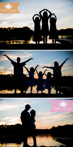 Family Photo Session taken at sunset by the lake in Eden Prarie, Minnesota. Great silhouette shots of family, Mom and Dad love, and three adorables sisters doing their 'taylor swift' hearts » Katherine Mendieta Photography - Minneapolis Photographer