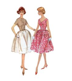 60s uncut Full Skirt Dress pattern  Fit and Flare Dress