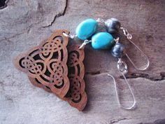 Turquoise and wood long dangle earrings. Celtic knot wood triangle and sterling silver. #littlebearsmom #etsy