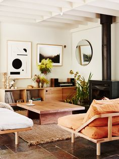 neutral modern living room with art | coco kelley