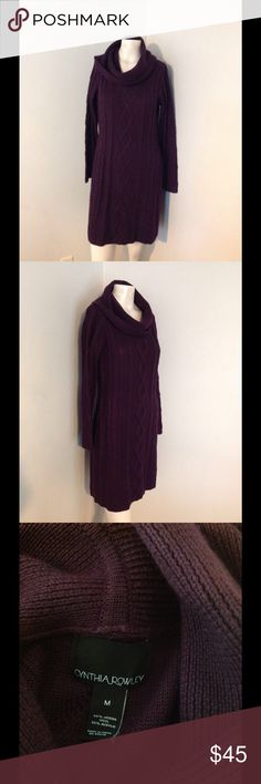 Cynthia Rowley Purple Cowl Neck Sweater Dress M Very pretty Cynthia Rowley sweater dress. Purple cable knit with a cowl neck. Great condition. Cynthia Rowley Dresses