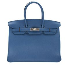 Hermes Thalassa Bleu Clemence Leather 35cm Birkin Bag - Hermes Birkin 35cm in Thalassa Blue  Size: 35cm  Leather: baby bull Clemence  Palladium Silver Hardware    Matching hardware, lock, keys and key holder (clochette) included    Made in France   FINAL SALE