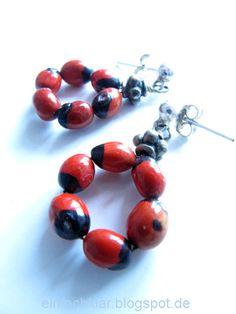 Qing's joy of creation: earrings DIY, red beans earrings