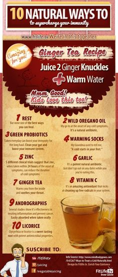 10 Natural Ways to Supercharge Your Immunity!  #infographic #health #ginger.    Clicking on this pic will take you to our Facebook page for more recipes, inspiration, and motivation!