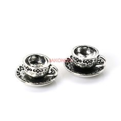 15pcs Tibetan Silver Plated Coffee Cup Charms Pendants for Jewelry Making DIY Handmade Craft 14mm